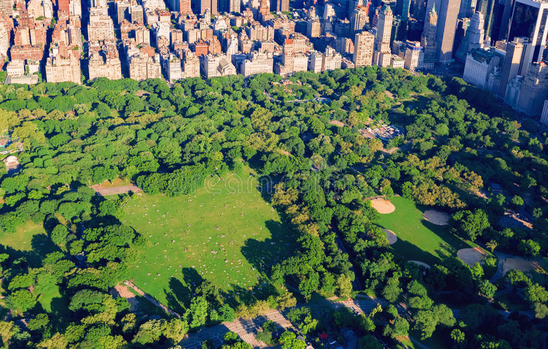 Aerial view of Central Park. And Midtown Manhattan, NY royalty free stock image