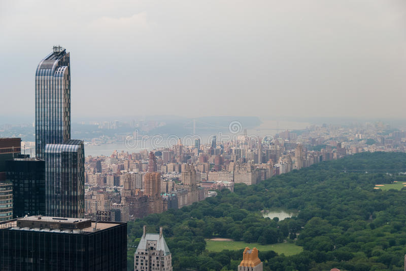 Aerial view of Central Park. Surrounded with skyscrapers royalty free stock image