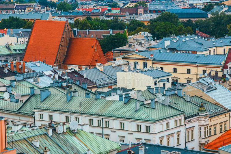 Aerial view on the central square of Krakow stock photos