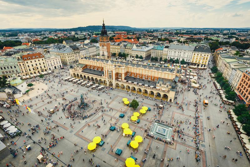Aerial view on the central square of Krakow royalty free stock photo
