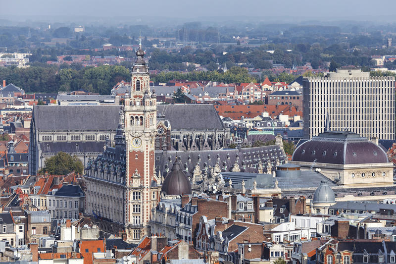 Aerial view on the centre of Lille, France. Aerial view on the centre of Lille with Chamber of commerce building on the main point royalty free stock images