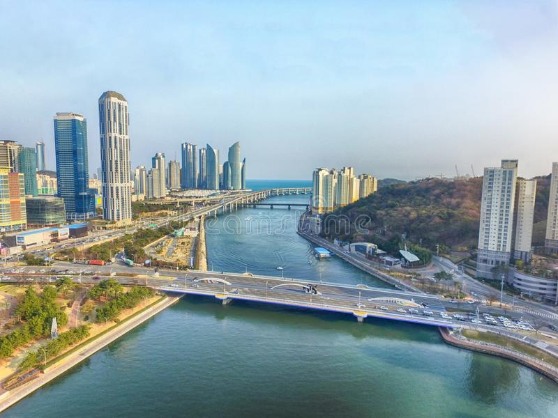Aerial View of Centum City Traffic in Haeundae, Busan, South Korea, Asia.  stock photography