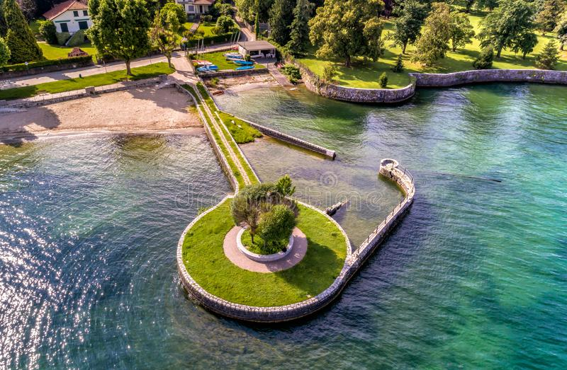 Aerial view of Cerro beach situated near Laveno Mombello, on the shore of Lake Maggiore. Aerial view of Cerro beach situated near Laveno Mombello, on the shore royalty free stock image