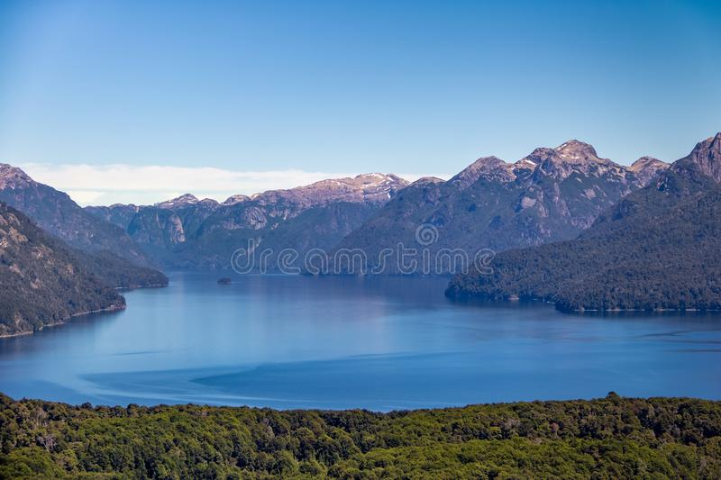 Aerial view from Cerro Llao Llao viewpoint at Circuito Chico - Bariloche, Patagonia, Argentina royalty free stock photos
