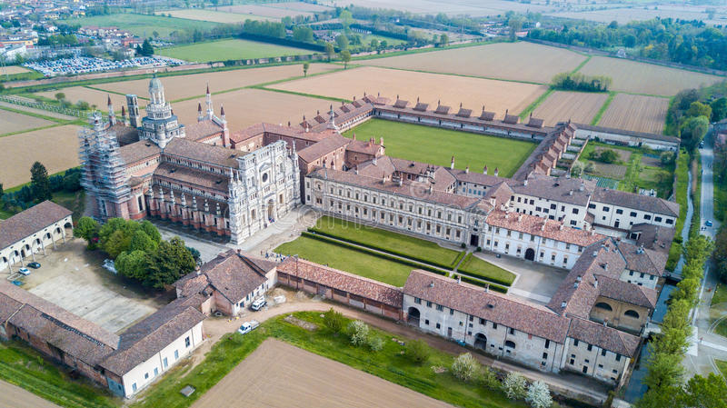 Aerial view of the Certosa di Pavia, the monastery and shrine in the province of Pavia, Lombardia, Italy. Aerial view of the Certosa di Pavia, built in the late royalty free stock photo