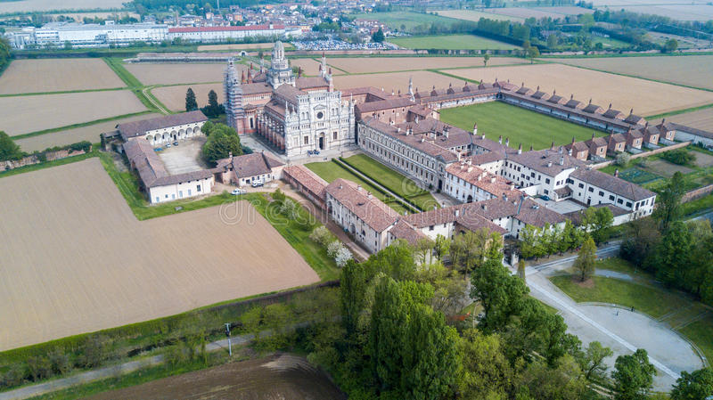 Aerial view of the Certosa di Pavia, the monastery and shrine in the province of Pavia, Lombardia, Italy. Aerial view of the Certosa di Pavia, built in the late stock photo