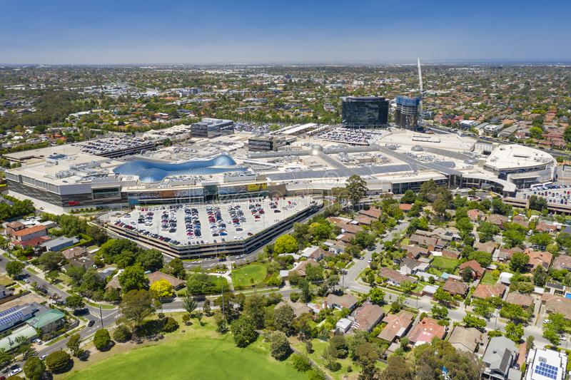 Aerial view of Chadstone Shopping Centre. Melbourne, Australia - Dec 11, 2018: Aerial view of Chadstone Shopping Centre. It is the largest mall in Australia stock images