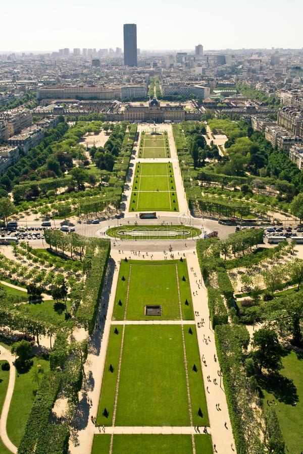 Aerial view on the Champs de Mars stock photo