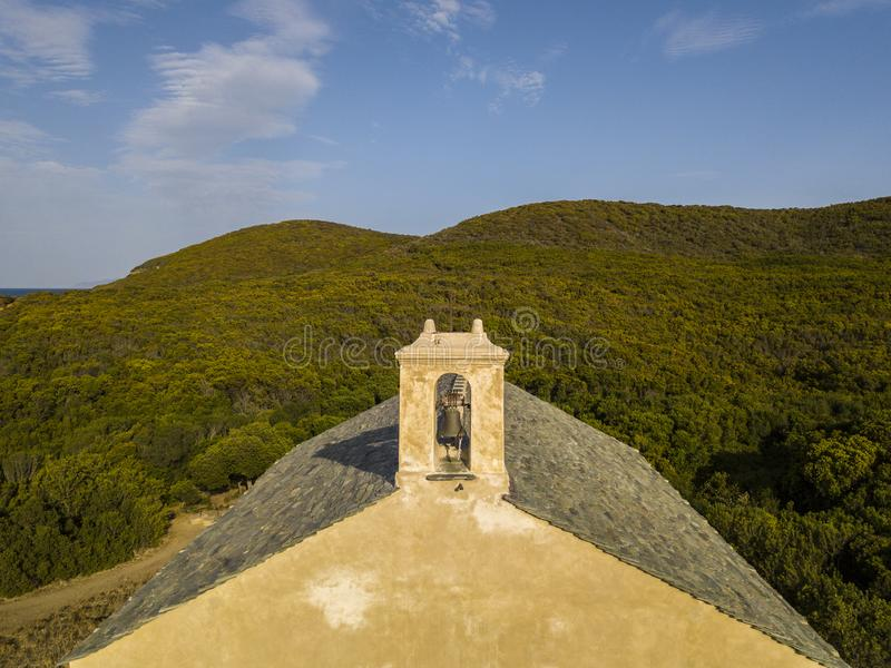 Aerial view of the chapel of Santa Maria. Cap Corse Peninsula, Corsica. Coastline. France. Aerial view of the chapel of Santa Maria, Mediterranean scrub royalty free stock photography