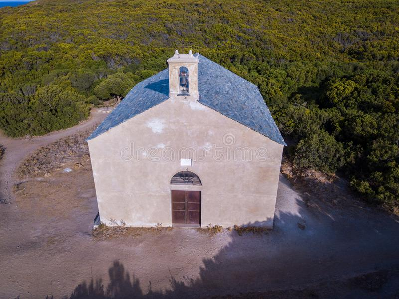 Aerial view of the chapel of Santa Maria. Cap Corse Peninsula, Corsica. Coastline. France. Aerial view of the chapel of Santa Maria, Mediterranean scrub royalty free stock images