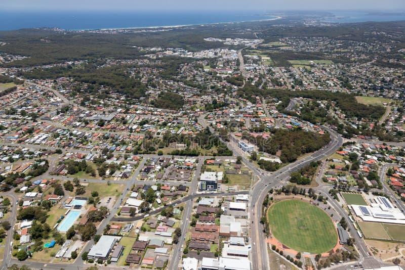 Aerial View of Charlestown - Newcastle Australia. Aerial view of residential areas of Newcastle and Lake Macquarie. Charlestown Whitebridge and Gateshead stock image