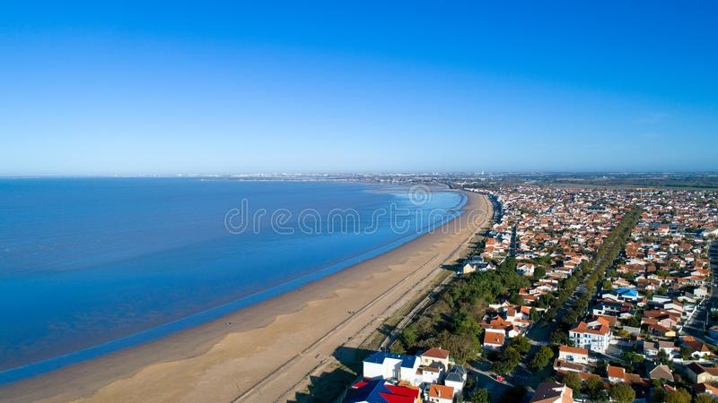 Aerial photo of Chatelaillon beach in Charente Maritime. Aerial view of Chatelaillon in Charente Maritime, France royalty free stock image