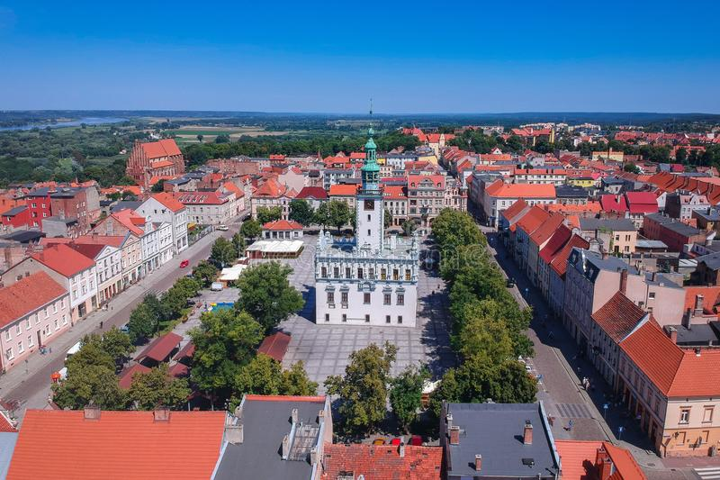 Aerial view of Chelmno, Poland stock photography