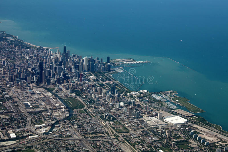 Aerial view of Chicago royalty free stock images