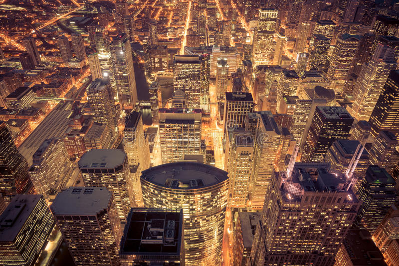 Aerial view of Chicago downtown stock images