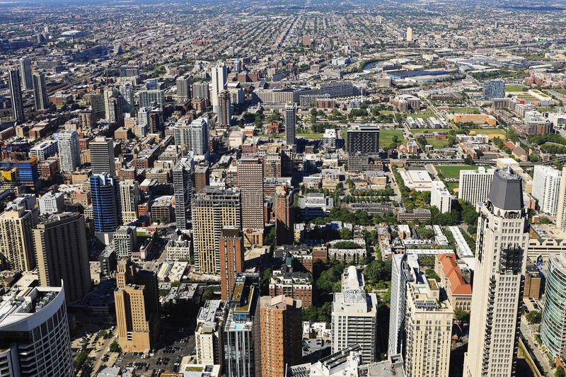 Aerial view of Chicago skyline stock photo