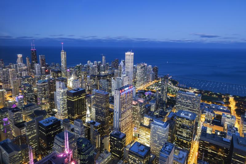 Aerial view of Chicago skyline by night stock image