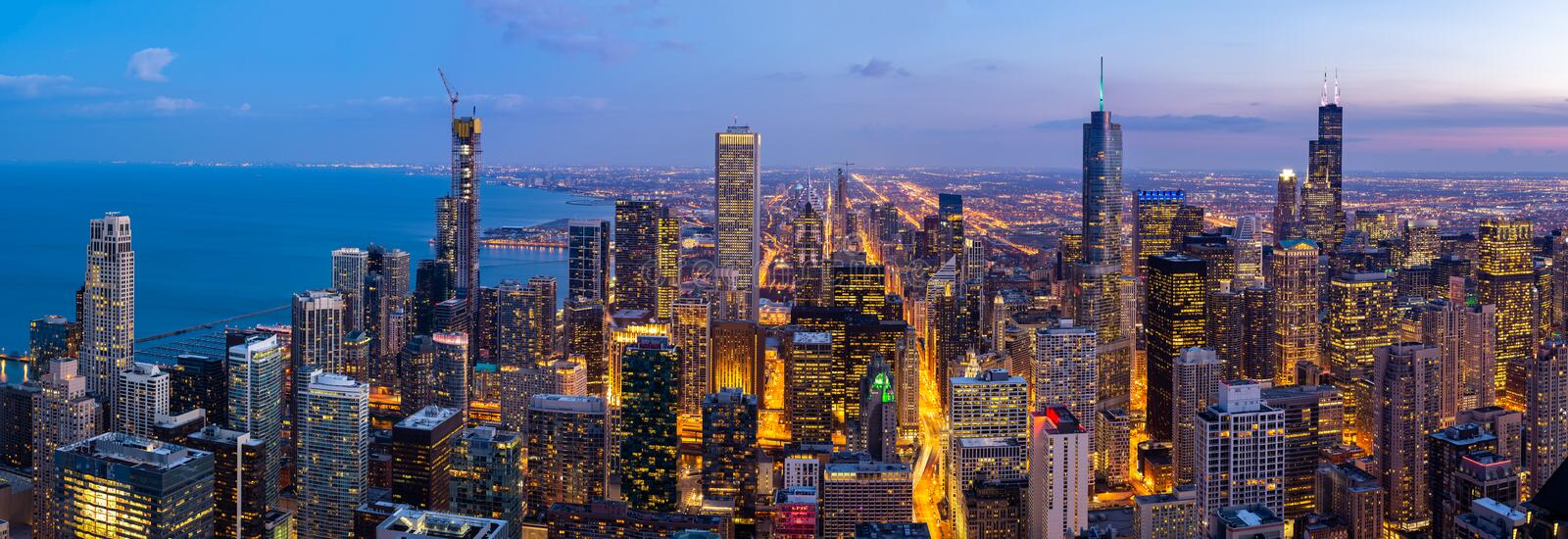 Aerial view of Chicago Skylines South Panorama stock images
