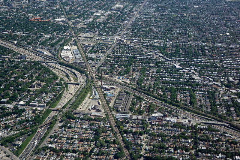 Aerial view of Chicago traffic stock photo
