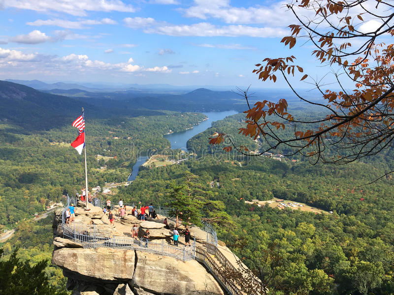 Aerial view of Chimney Rock State Park, North Carolina royalty free stock images