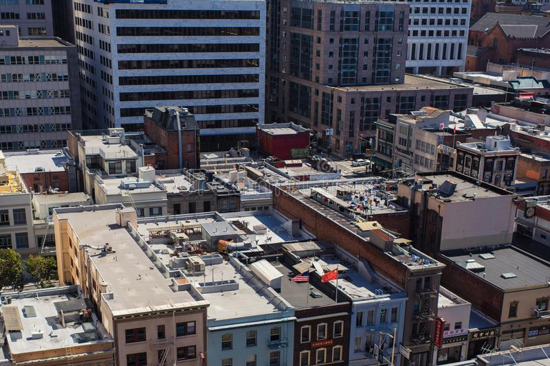 Aerial view on the Chinatown in San Francisco, USA. San Francisco`s Chinatown is one of North America`s largest Chinatowns stock images