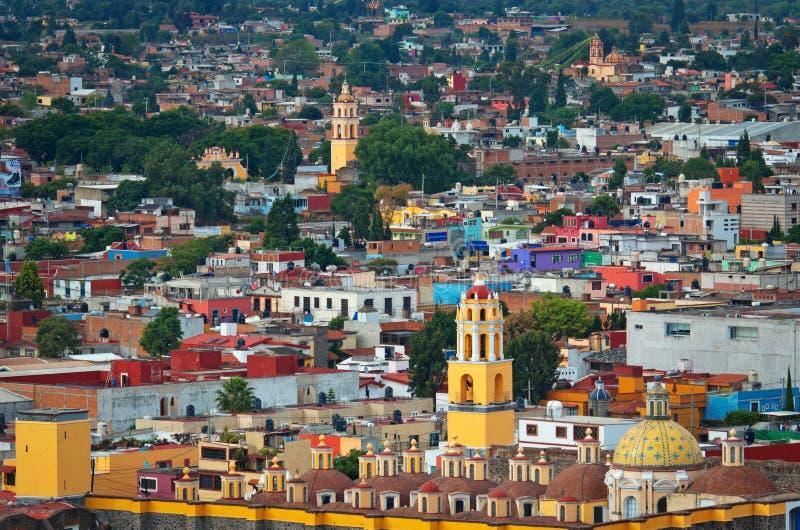 Aerial view of Cholula in Puebla, Mexico. Cholula, Mexico - November 10, 2016: Aerial view of downtown Cholula, Puebla royalty free stock photography