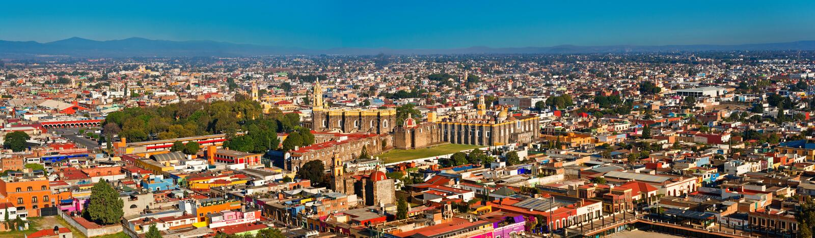 Aerial view of Cholula in Puebla, Mexico. Cholula, Mexico - November 27, 2016: Panoramic Aerial view of downtown and of Convent of San Gabriel in Cholula, Puebla royalty free stock photos