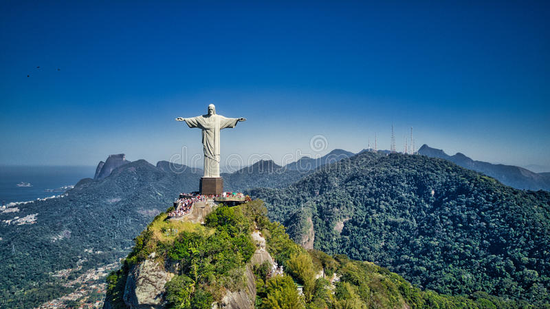 Aerial view of Christ the Redeemer and Rio de Janeiro city royalty free stock image