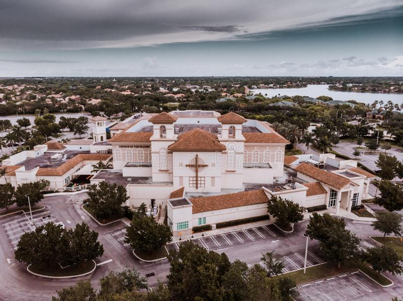 Aerial view on a Church near the Everglades, Florida with dramatic sky a few minutes before the thunderstorm royalty free stock image