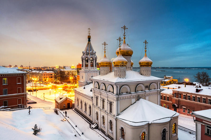 Aerial view of Church in Nizhny Novgorod, Russia stock photos
