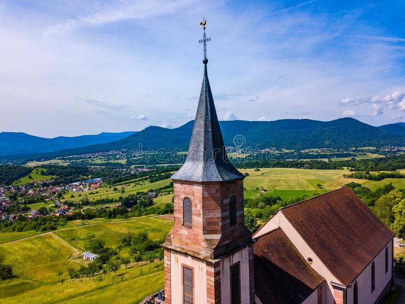 Aerial view of Church Saint-Gilles in Saint-Pierre-Bois, Alsace royalty free stock images