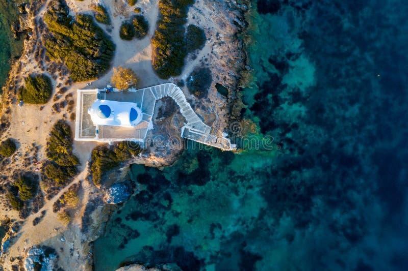 Aerial view of the church St Panteleimon in the Katapola vilage, Amorgos island, Cyclades, Aegean. Greece royalty free stock photos