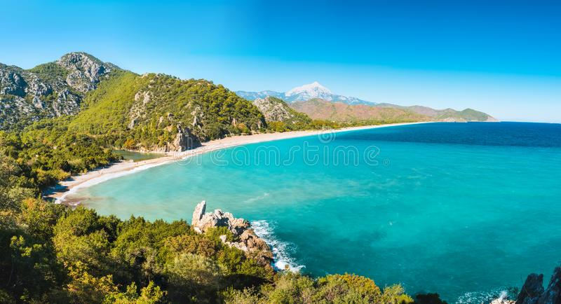 Aerial view of Cirali Beach from ancient Olympos ruins, Antalya Turkey stock photos