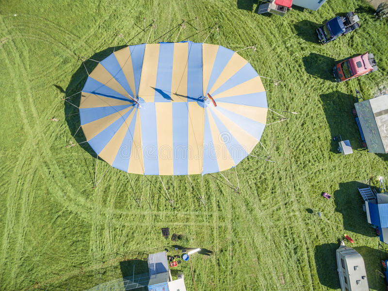 Aerial view of a circus tent and white tigers. Aerial view of a circus tent with cage of white tigers royalty free stock photo
