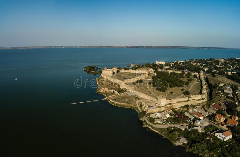Aerial top view to Akkerman fortress which is on the bank of the Dniester estuary, in Odessa region. Aerial view on citadel of ancient fortress Akkerman which stock images