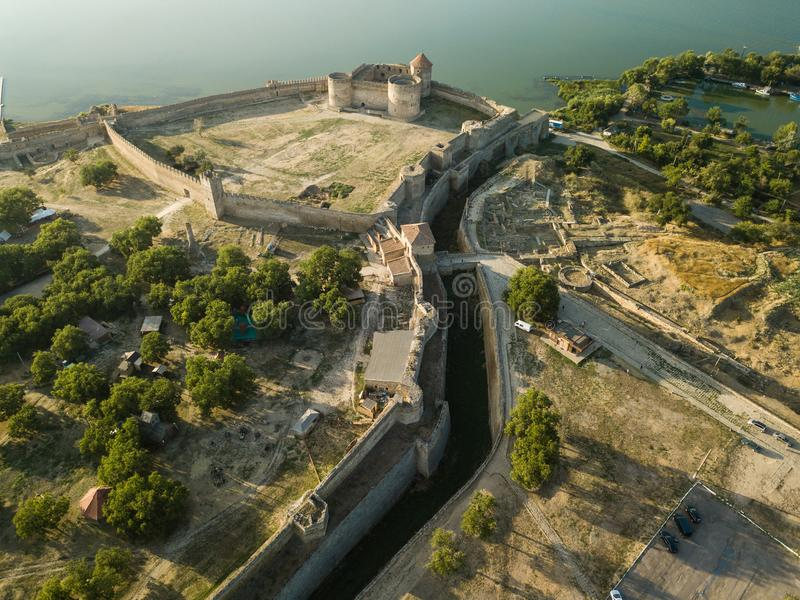 Aerial top view to Akkerman fortress which is on the bank of the Dniester estuary, in Odessa region. Aerial view on citadel of ancient fortress Akkerman which royalty free stock photos
