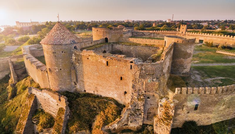 Aerial view on citadel of fortress Akkerman. Aerial view on citadel of ancient fortress Akkerman which is on the bank of the Dniester estuary, in Odessa region royalty free stock photos