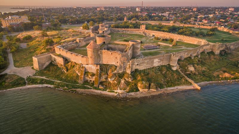 Aerial view on citadel of fortress Akkerman. Aerial view on citadel of ancient fortress Akkerman which is on the bank of the Dniester estuary, in Odessa region royalty free stock images
