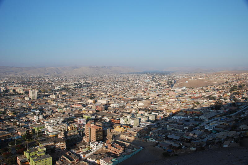 Aerial view of the city of Arica,Chile stock image