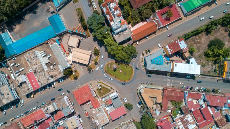 Aerial view of the city of Arusha, Tanzania. Aerial view of the city of Arusha royalty free stock photos