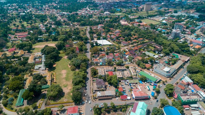 Aerial view of the city of Arusha, Tanzania. Aerial view of the city of Arusha royalty free stock photo