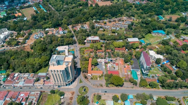 Aerial view of the city of Arusha, Tanzania. Aerial view of the city of Arusha stock photos