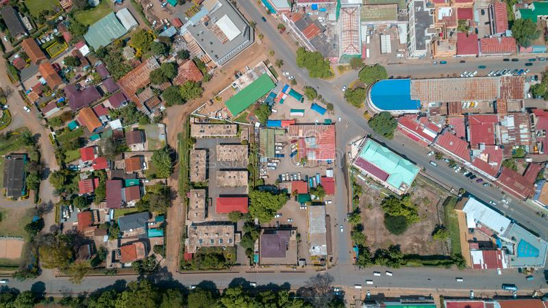 Aerial view of the city of Arusha, Tanzania. Aerial view of the city of Arusha stock photo