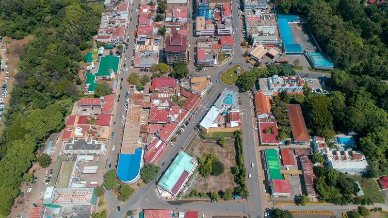 Aerial view of the city of Arusha, Tanzania. Aerial view of the city of Arusha royalty free stock photography