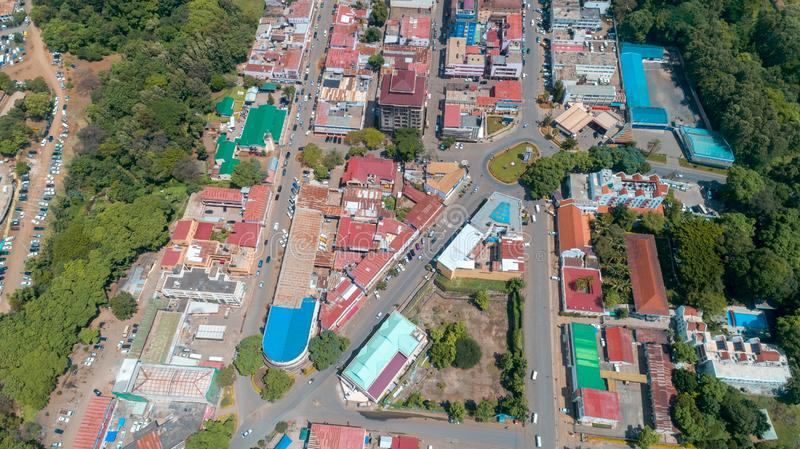 Aerial view of the city of Arusha, Tanzania. Aerial view of the city of Arusha stock image