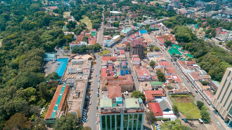 Aerial view of the city of Arusha, Tanzania. Aerial view of the city of Arusha royalty free stock images