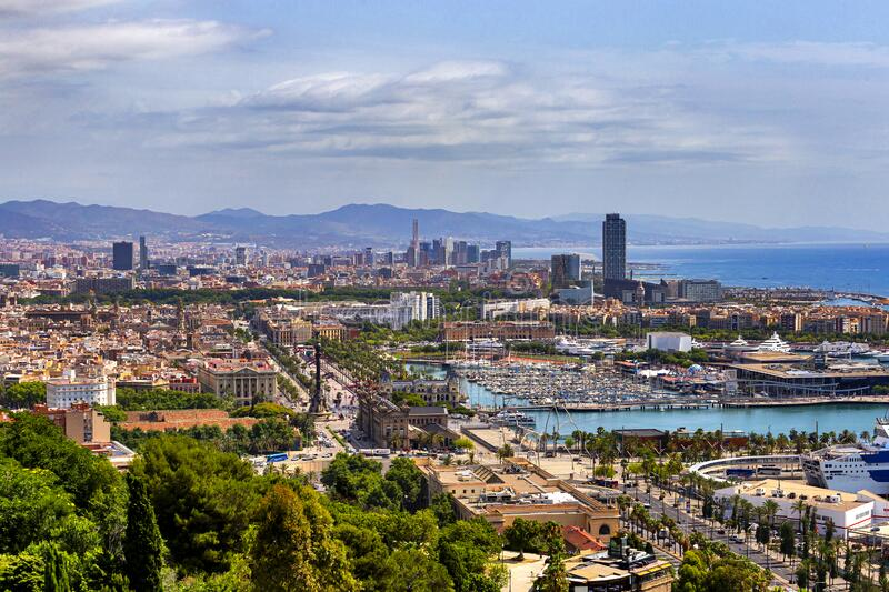 Aerial view of the city of Barcelona, Spain. royalty free stock photography