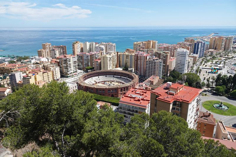 Plaza de Toros de La Malagueta in Malaga, Spain. Aerial view of the city with Bullring arena Plaza de Toros de La Malagueta at the mediterranean sea side from royalty free stock photo