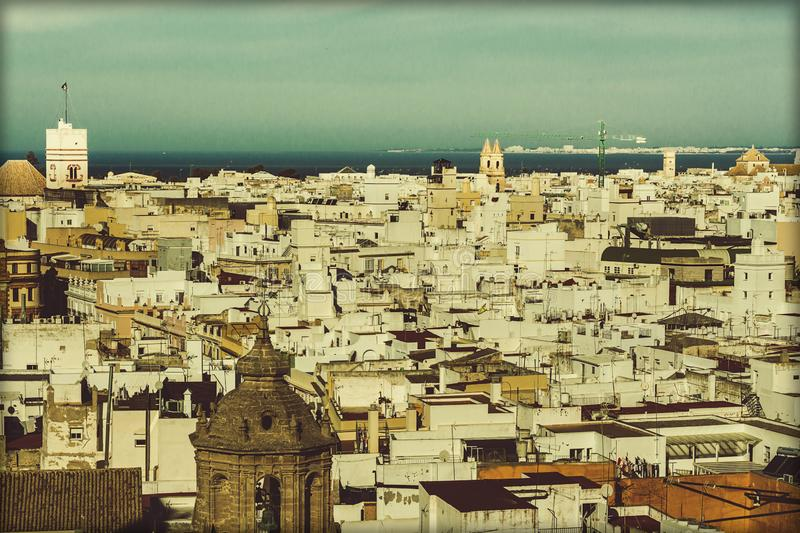Aerial view of the city of Cadiz stock images