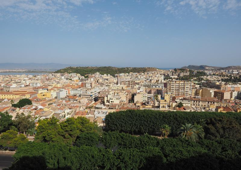 Aerial view of Cagliari. Aerial view of the city of Cagliari, Italy royalty free stock images